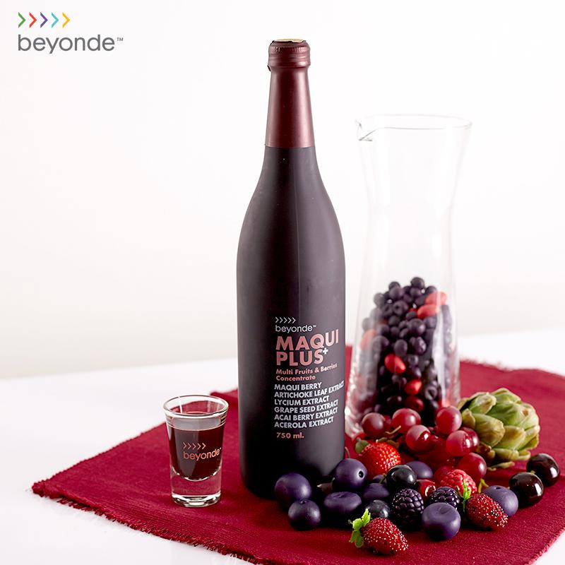 Beyonde Maqui Plus+ บียอนด์ มากิ พลัส ผลิตภัณฑ์เสริมอาหารชนิดน้ำ จากผลไม้และเบอรี่รวมสกัดเข้มข้น