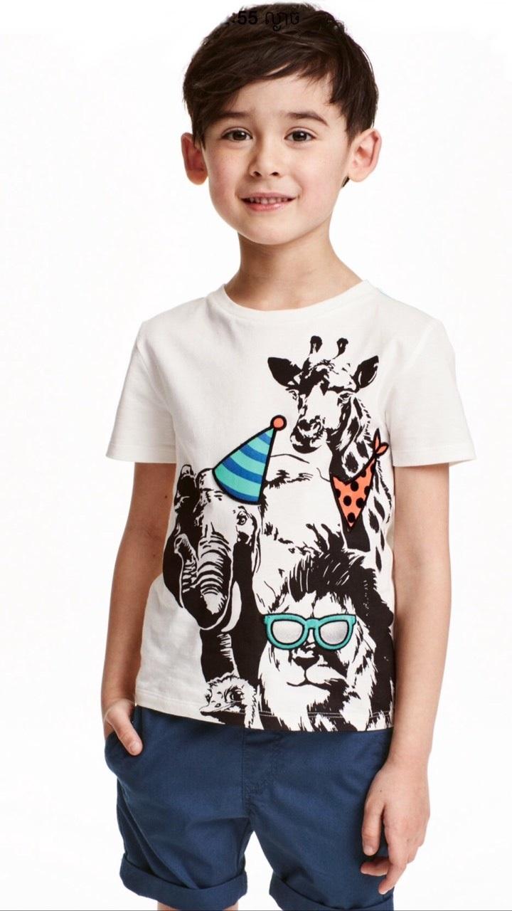 H&M : เสื้อยืด ลาย animal สีขาว size : 4-6y / 12-14y