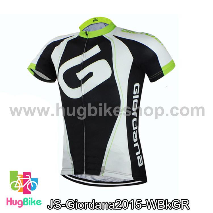 เสื้อจักรยานแขนสั้นทีม Giordana 2015 สีขาวดำเขียว สั่งจอง (Pre-order)