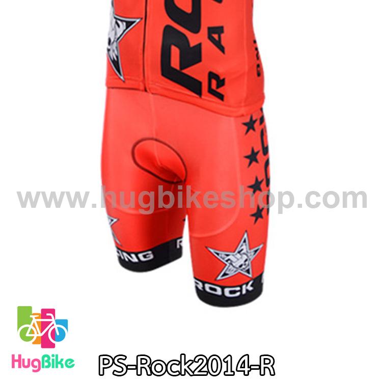 กางเกงจักรยานขาสั้นทีม Rock Racing 14 สีแดง สั่งจอง (Pre-order)