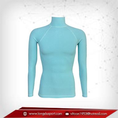 Body Fit / Base Layer เสื้อรัดรูป คอตั้งแขนยาว สีฟ้า Paleturquoise