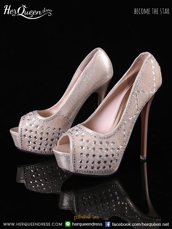 เช่ารองเท้า &#x2665 รองเท้าส้นสูง 5 นิ้ว สีทอง Soft คริสตัล