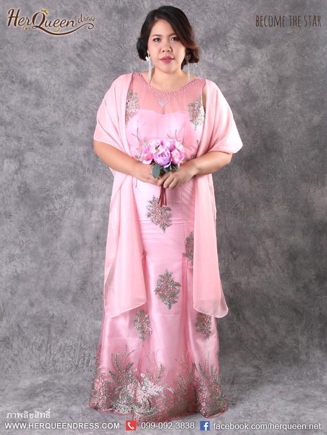 เช่าชุดราตรี &#x2665 ชุดราตรีหวานๆ สีชมพู ปักลูกไม้เขียว