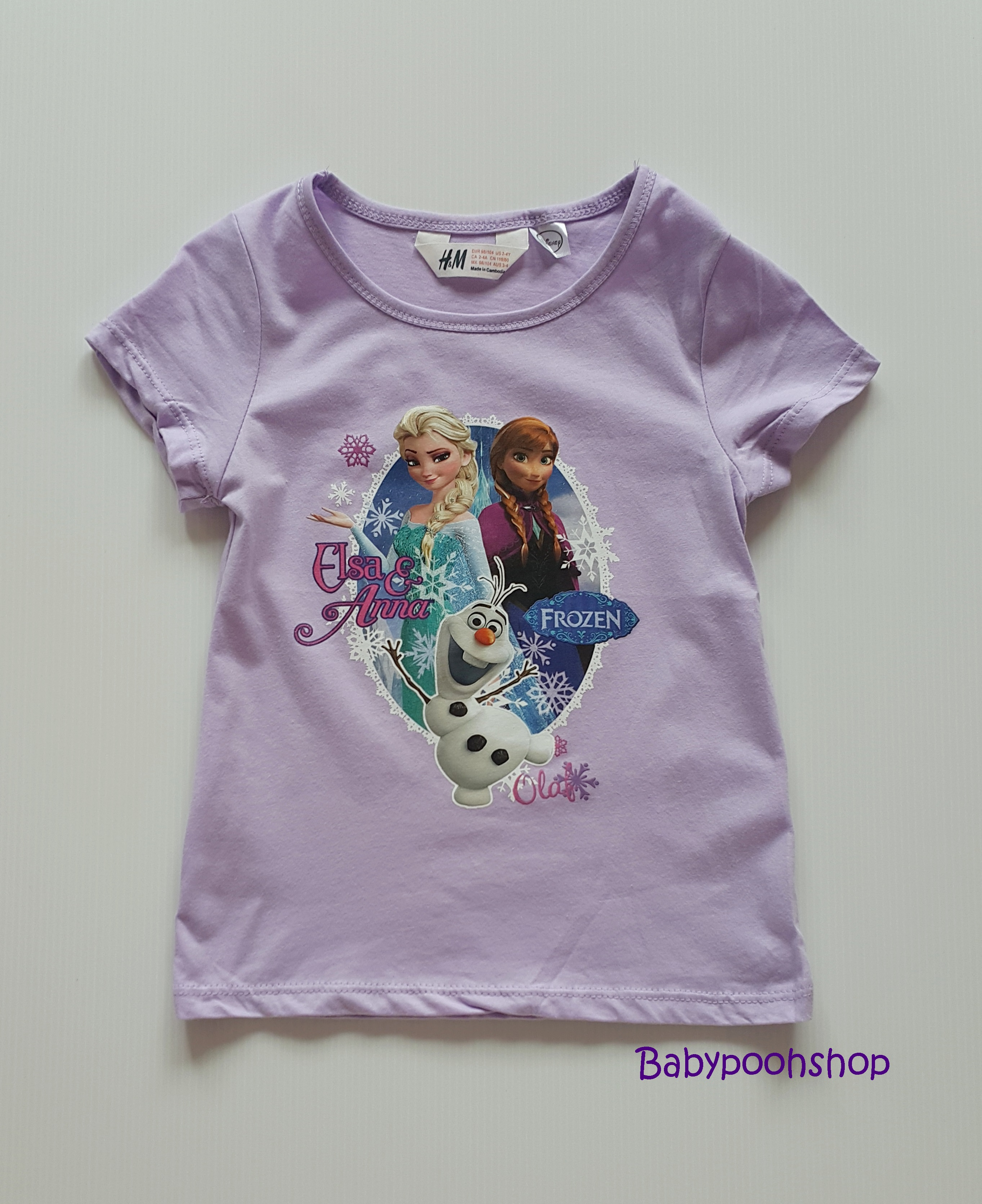 H&M : เสื้อยืดสกรีนลายเจ้าหญิงแอนนา เอลซ่า สีม่วง size : 1-2y