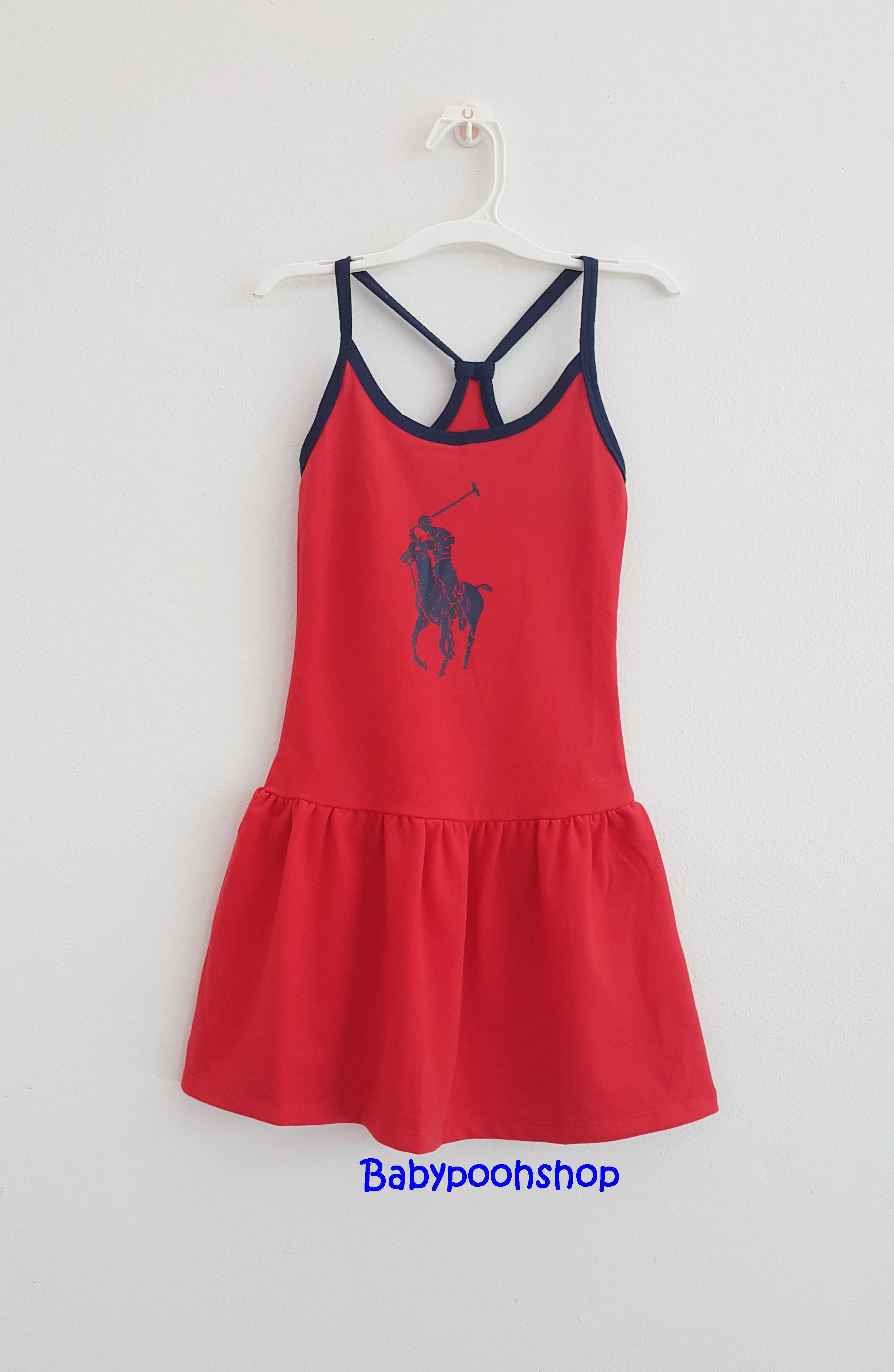 Polo : เดรสโปโล สายเดี่ยวสีแดง size 6 (5-6y) / 8 (6-8y) / 10 (8-10y)