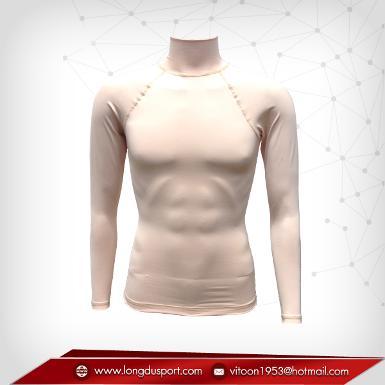 Body Fit / Base Layer เสื้อรัดรูป คอตั้ง แขนยาว สีน้ำตาลอ่อน wheat