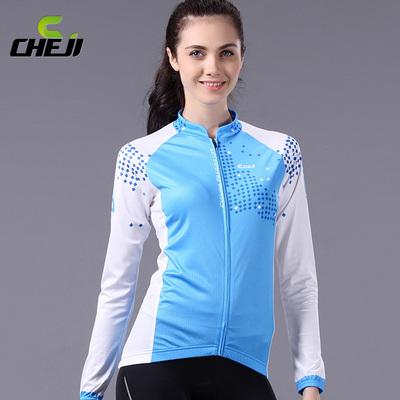 เสื้อจักรยานผู้หญิงแขนยาว CheJi สีฟ้าขาว สั่งจอง (Pre-order)
