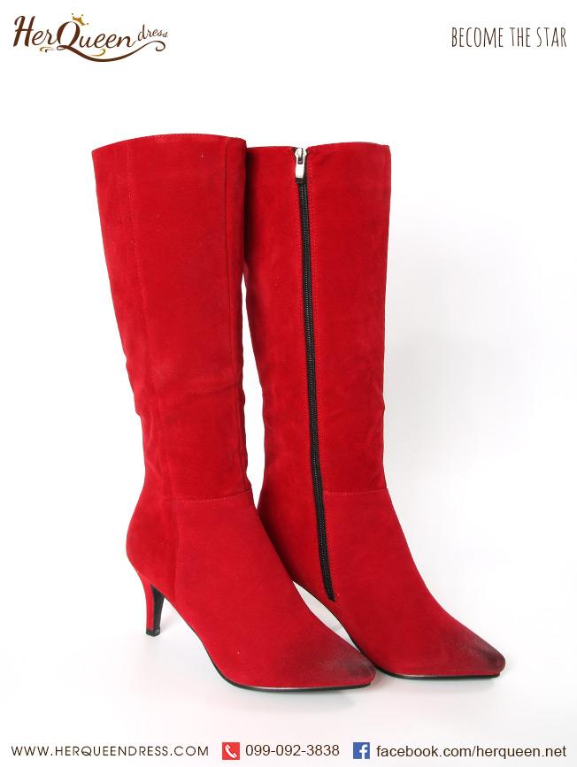 เช่ารองเท้า &#x2665 รองเท้าบู๊ท หัวแหลม ยาวใต้เข่า - สีแดง
