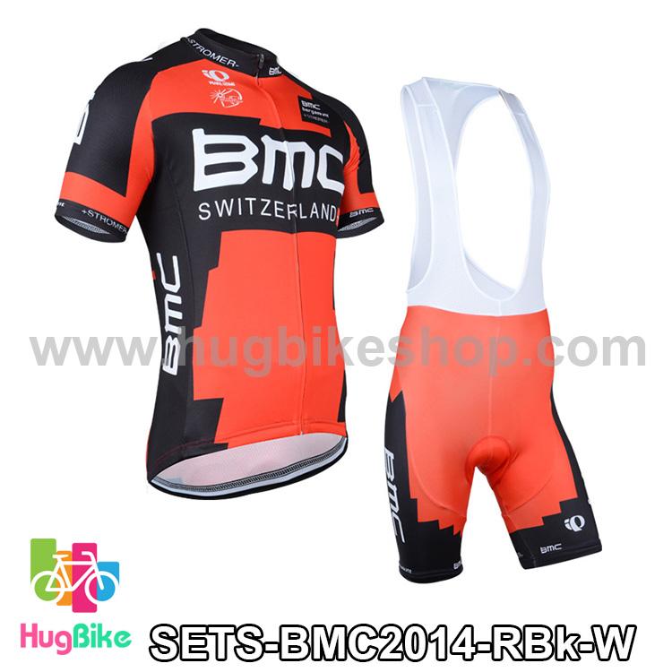 ชุดจักรยานแขนสั้นทีม BMC 14 (01) สีแดงดำ กางเกงเอี๊ยม สั่งจอง (Pre-order)