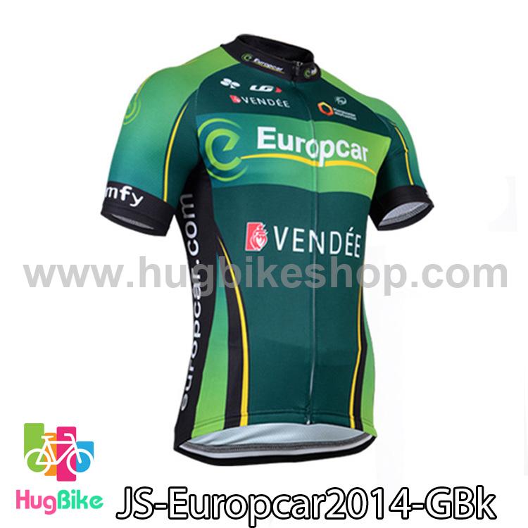 เสื้อจักรยานแขนสั้นทีม Europcar 2014 สีเขียวดำ สั่งจอง (Pre-order)