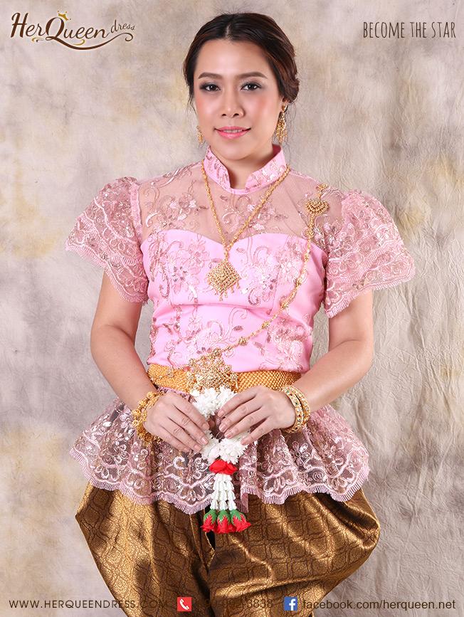 เช่าชุดไทย &#x2665 ชุดไทย ร.5 เสื้อลูกไม้แขนสั้น ดิ้นทอง - สีชมพู