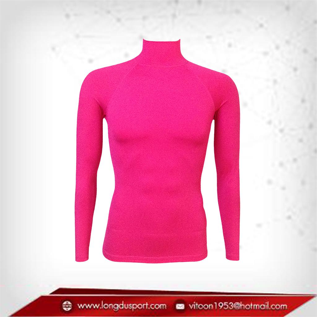 เสื้อรัดกล้ามเนื้อ แขนยาวคอตั้ง สีชมพู hotpink