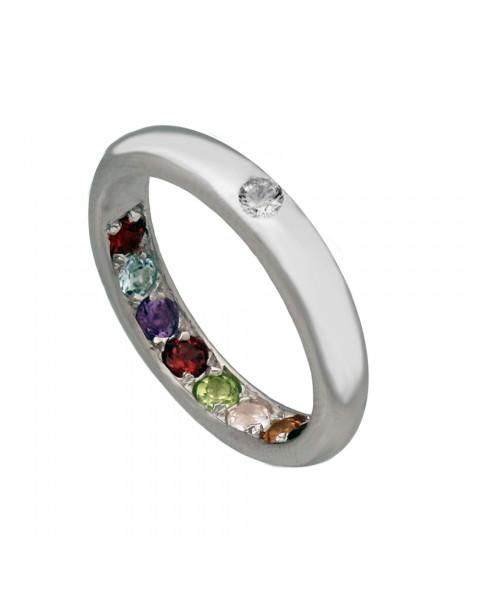 แหวนพลอยนพเก้าพูนทรัพย์หุ้มทองคำขาวแท้