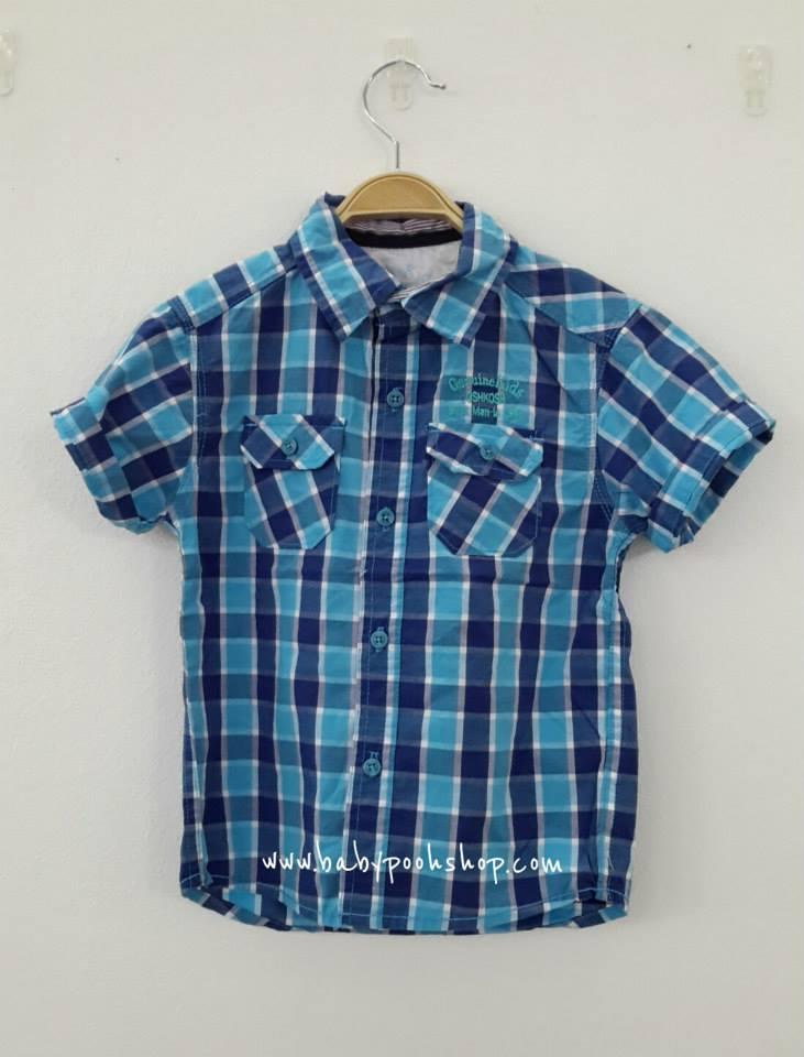 OSHKOSH : เสื้อเชิ๊ตแขนสั้น สีฟ้า size 4T