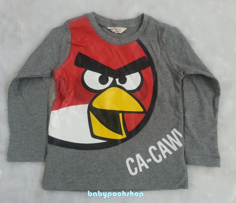 H&M : เสื้อยืดแขนยาวสกรีนลาย Angry Bird สีเทา size : 2-4y