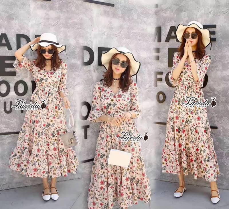 Maxi Dress พิมพ์ลายดอกไม้เล็กๆทั้งชุดโทนสีสดใส