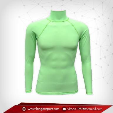 Body Fit / Base Layer เสื้อรัดรูป คอตั้ง แขนยาว สีเขียว springgreen