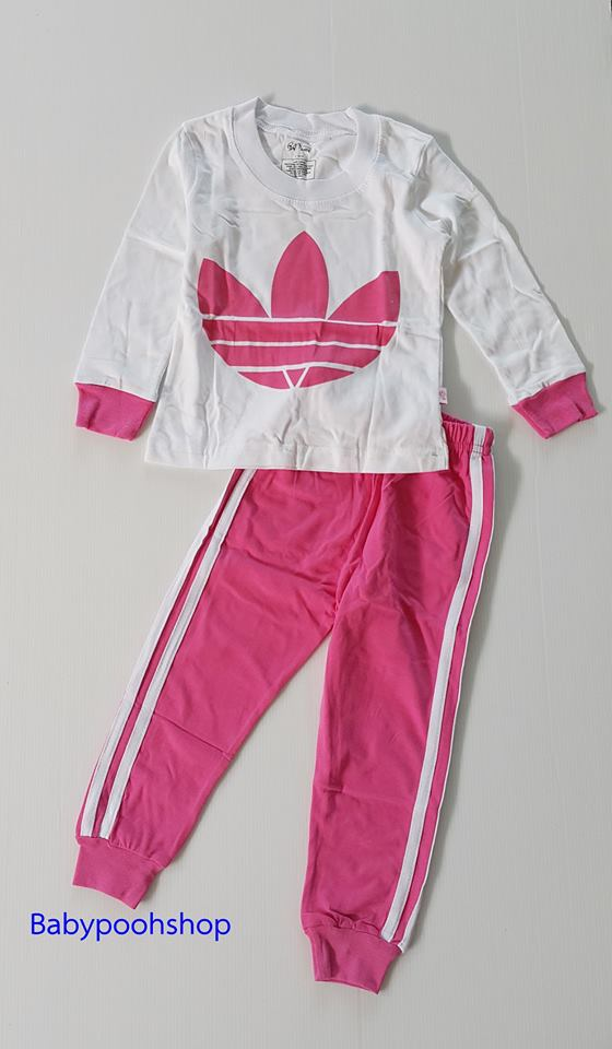 baby Gap HK : set ชุดนอน adidas สีชมพู size : 2T ( 1-2 ขวบ)
