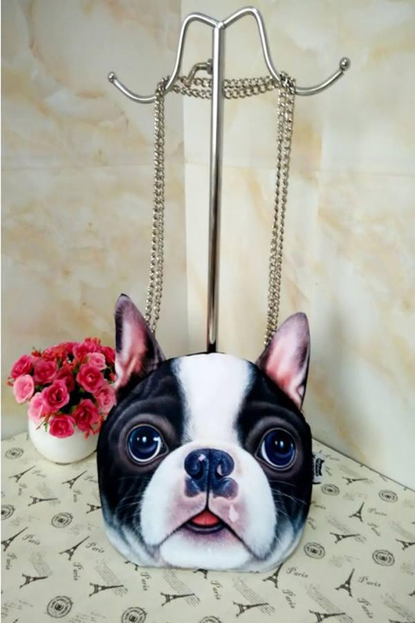 กระเป๋าสายโซ่ พิมพ์ลายหน้าหมา 3D