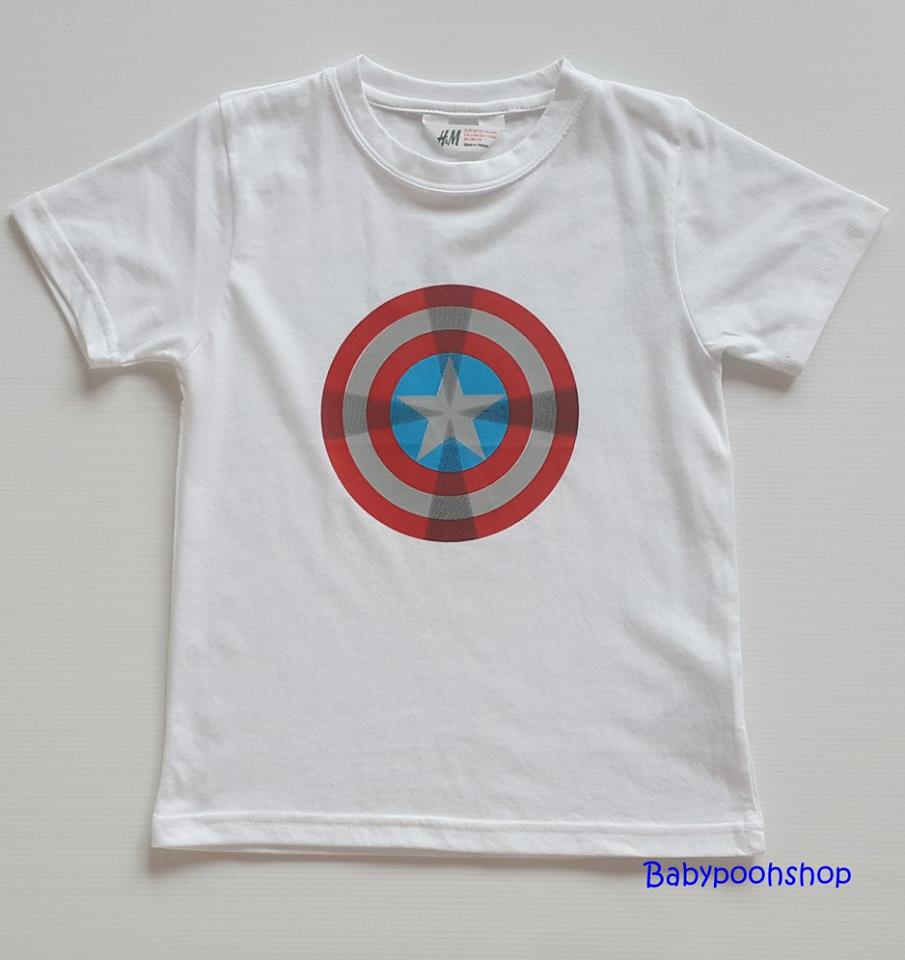 H&M : เสื้อยืด ลาย กัปตันอเมริกา สีขาว size : 4-6y / 6-8y