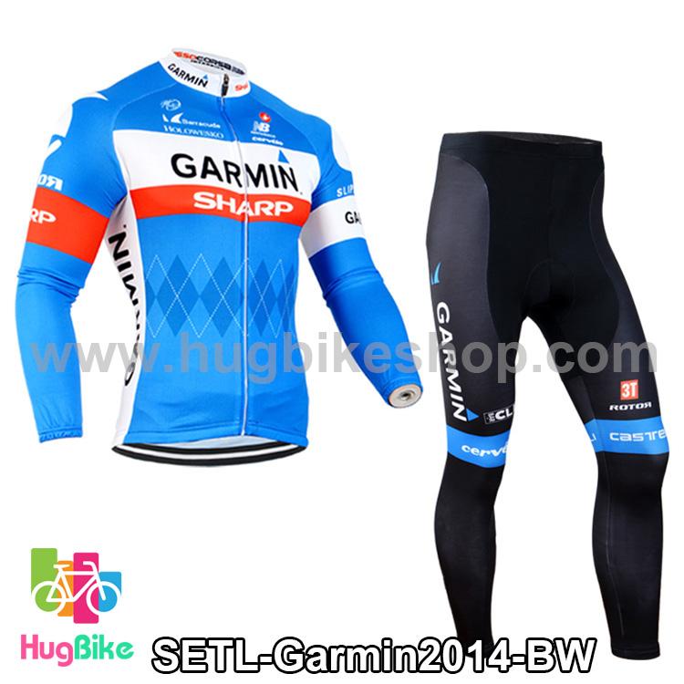 ชุดจักรยานแขนยาวทีม Garmin 14 สีน้ำเงินขาว