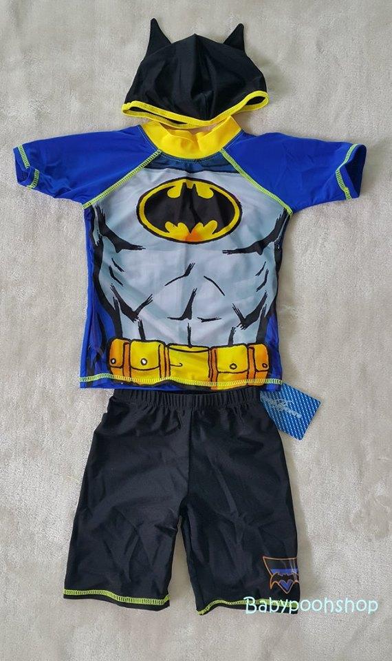 ชุดว่ายน้ำ 3 ชิ้น เสื้อ+กางเกง+หมวก Batman สีน้ำเงิน size : XXL (6-7y)