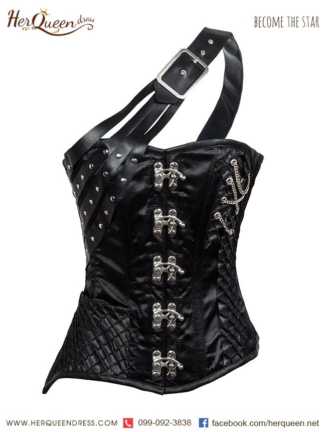 เช่าชุดแฟนซี &#x2665 ชุดแฟนซี corset ยุโรป แนวแฟนตาซี ไหล่เดี่ยว เย็บแต่งเกล็ด