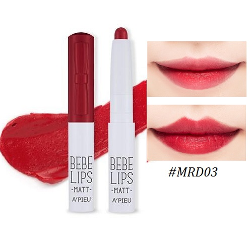 ++พร้อมส่ง++APIEU BEBE Lips 1g #MRD03 ลิปเนื้อแมท สีสวย แน่น ติดทนนาน ชุ่มชื้น ใช้ง่าย พกพาสะดวก