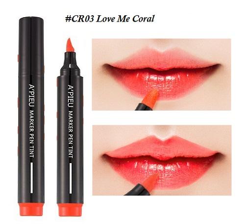 ++พร้อมส่ง++APIEU Marker Pen Tint 4.5g สี CR03 Love Me Coral ลิปทิ้นท์ หัวปากกา เขียนง่าย สีสวย ติดทนนาน ไม่เลอะ