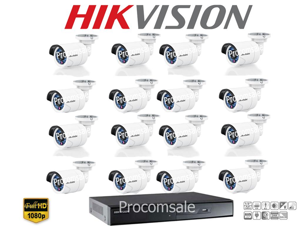 Hikvision (( Camera Set 16 )) HD720P (DS-2CE16C0T-IR x 16, DS-7216HGHI-E1 x 1)