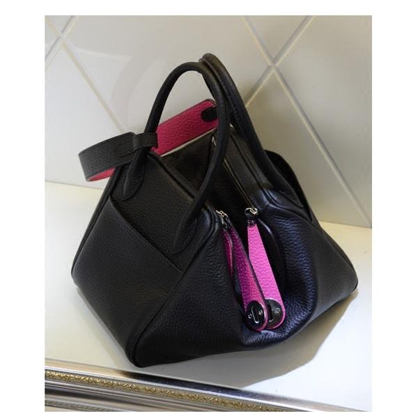 กระเป๋า hermes Lindy 30' Black-Pink