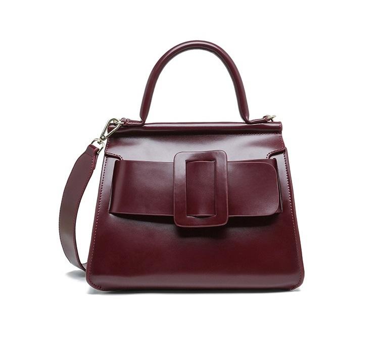กระเป๋าหนังวัว รุ่น boyy karl wine red 25Cm (หนังมันเงา)