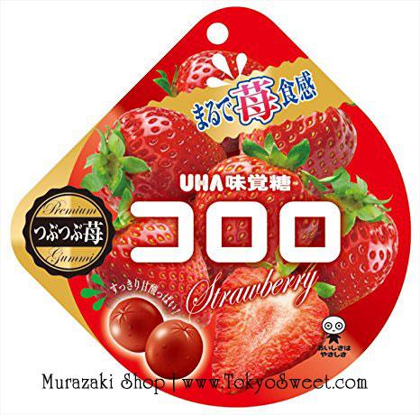 พร้อมส่ง ** UHA Cororo - Strawberry เยลลี่โคโรโระ รสสตรอว์เบอร์รี่ อร่อยเหมือนเคี้ยวผลไม้สด 1 ห่อบรรจุ 40 กรัม