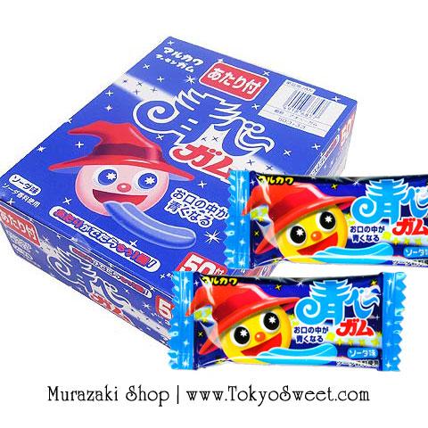 พร้อมส่ง ** Ao Bleah Gum หมากฝรั่งเปลี่ยนสีลิ้น สีฟ้า รสโซดา กล่องใหญ่ 50 ชิ้น