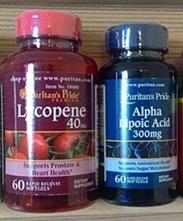Alpha Lipoic Acid (ALA) 300 mg 1 ขวด 60 เม็ด + Lycopene (สารสกัดมะเขือเทศ) 40 mg 1 ขวด 60 เม็ด