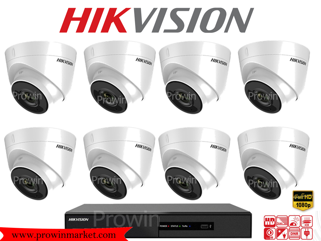 HIKVISION (( Camera set 8 )) DS-2CE56D0T-IT3 x 8 DS-7208HQHI-F2/N x 1