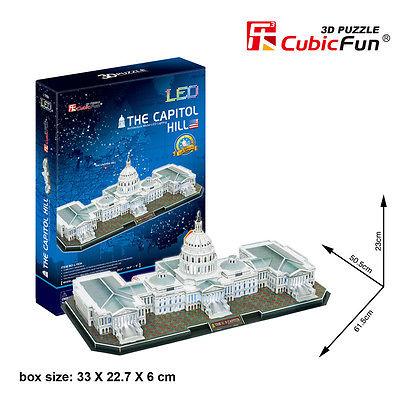 Capitol Hill อาคารรัฐสภาสหรัฐ LED Size 61.5*50.5*23 cm Total 150 pcs. Cubic Fun 3d Puzzle