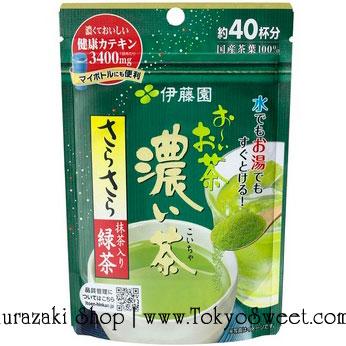 พร้อมส่ง ** Itoen Instant Green Tea with Matcha อิโตเอน [Koicha] ชาเขียวญี่ปุ่นชนิดผงสูตรเข้มข้น ซองสีเขียวเข้ม บรรจุ 32 กรัม ชาเขียวล้วนๆ รสชาติเข้มข้น ไม่ผสมน้ำตาล ถุงซิปล็อกใช้สะดวกพกพาง่าย 1 ถุงชงได้ประมาณ 40 แก้ว ใช้ใบชาญี่ปุ่น 100% สูตรใหม่ผสมมัจฉะ