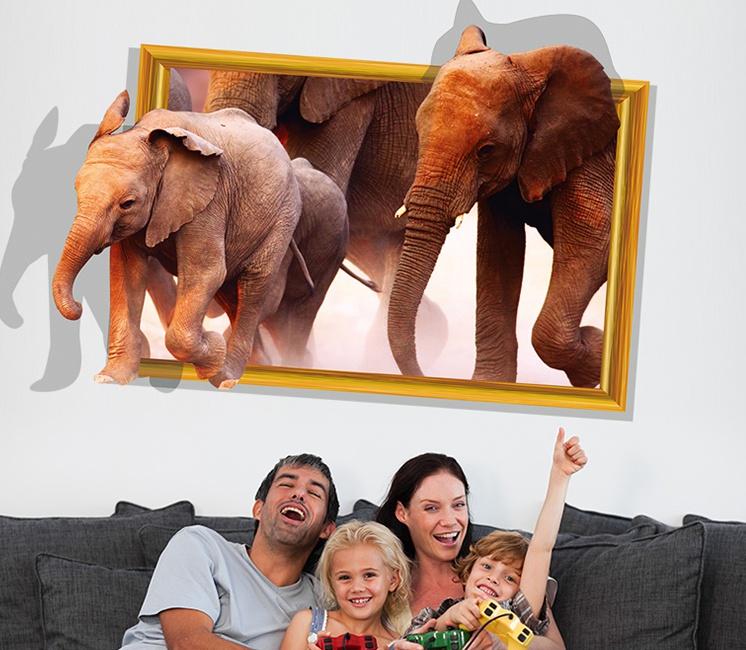 """สติ๊กเกอร์ติดผนังตกแต่งบ้าน 3D """"ช้าง Elephants"""" ความกว้าง 87 cm สูง 57 cm"""