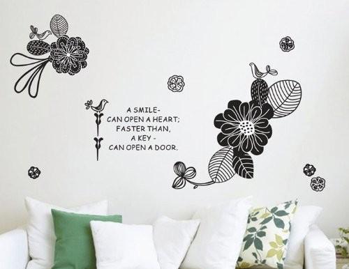 """สติ๊กเกอร์ติดผนัง กราฟฟิค """"Black Graphic Flora"""" ความสูง 80 cm ความกว้าง 150 cm"""