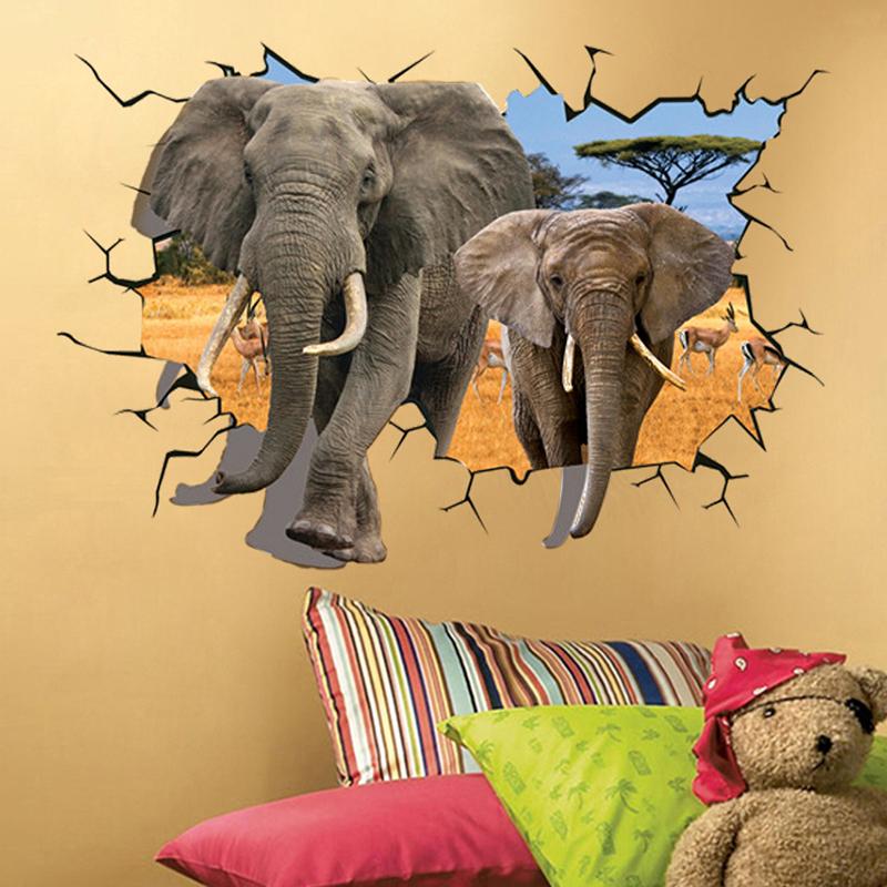 """สติ๊กเกอร์ติดผนัง 3D """"Huge Elephant"""" ความสูง 66 cm กว้าง 94 cm"""