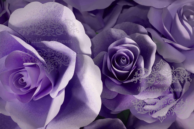 ดอกไม้กระดาษโทนสีม่วง - flower paper backdrop