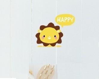 """สติ๊กเกอร์ติดปลั๊กไฟ """"Happy Lion"""" 8 x 14 cm"""