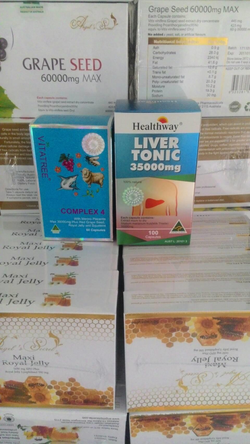Vitatree 4 Complex 30 เม็ด + ดีท๊อกซ์ตับ healthway 35,000 mg. 30 เม็ด ขาวเนียน เด้ง เด็ก ครบจ้า