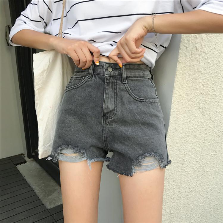 กางเกงยีนส์ขาสั้น เอวสูงสีเทารมควัน