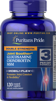 Puritan's Pride Double Strength Glucosamine, Chondroitin & MSM Joint Soother 120 Caplets