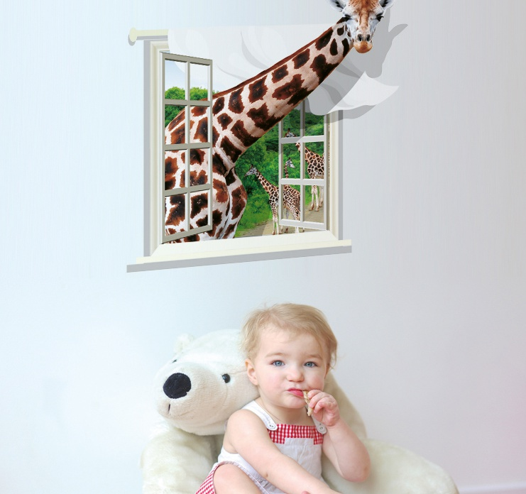 """สติ๊กเกอร์ติดผนัง 3D """"Giraffe"""" ความสูง 79 cm กว้าง 74 cm"""