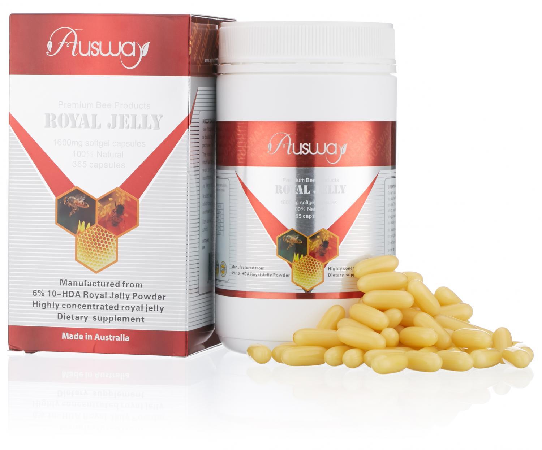 (แบ่งขาย 60 เม็ด) นมผึ้ง Ausway 1600mg เข้มข้น 6% 10-HDA Ausway royal jelly 1600mg ผิวพรรณสดใส หน้าไม่โทรม ทานได้ทั้งหญิงและชาย