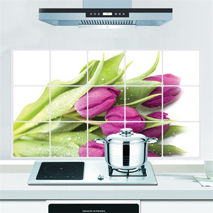 "Aluminium Sticker สติ๊กเกอร์กันน้ำมันกระเด็น ""Lovely Violet Tulip"" ขนาด 45cm x 75cm"