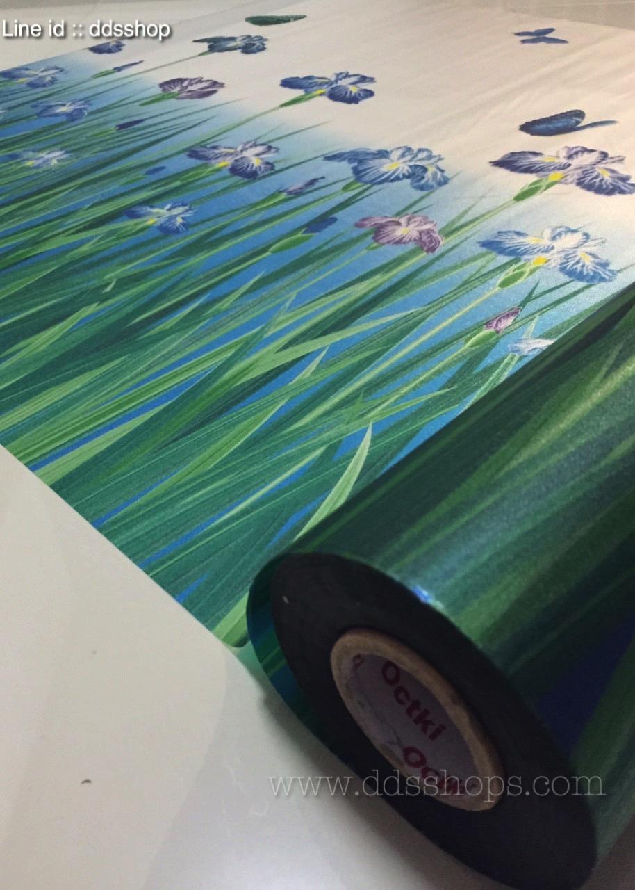 """สติ๊กเกอร์ติดกระจกแบบมีกาวในตัว """"Violet Flower Fence"""" หน้ากว้าง 90 cm ตัดแบ่งขายเมตรละ 189 บาท (ขั้นต่ำ 3m)"""
